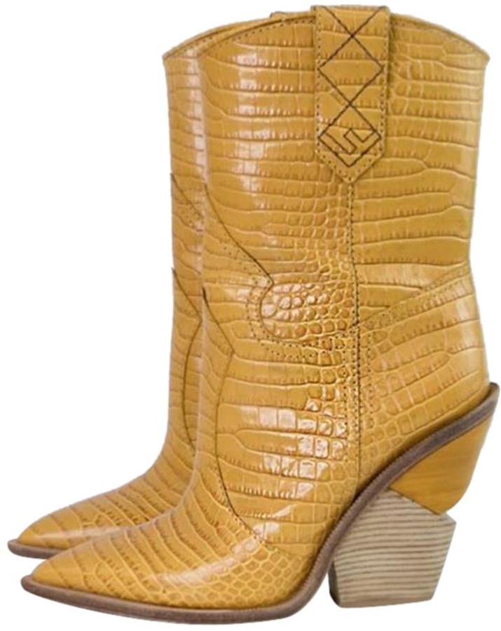 Fendi Cowboy Yellow Leather Boots
