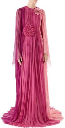Gucci Long-Sleeve Pleated Silk Chiffon Gown