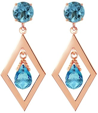 Overstock 2.4 CTW 14K Solid Rose Gold Blue Topaz Dangling Earrings