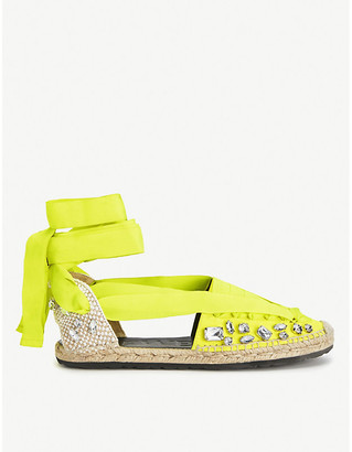 Loewe x Paula's lace-up crystal-embellished woven espadrilles