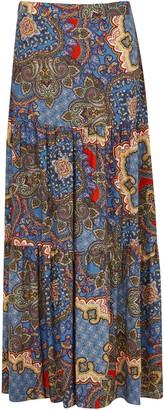Wallis Blue Paisley Print Tiered Maxi Skirt