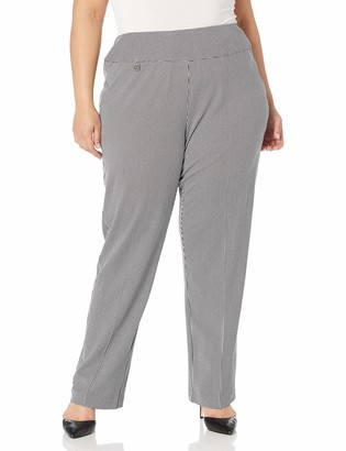 Slim Sation SLIM-SATION Women's Plus Size Pull-On Solid Ease-Y-Fit Knit Relaxed Leg Pant