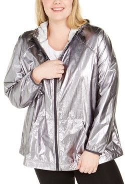 Ideology Plus Size Hooded Shine Windbreaker Jacket, Created for Macy's