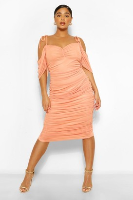 boohoo Plus Angel Sleeve Ruched Mesh Midi Dress