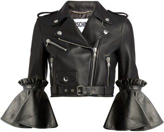 Moschino Flared-Sleeve Leather Jacket