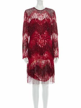 Naeem Khan Printed Knee-Length Dress Red