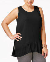 Alfani Plus Size Sleeveless Pleated Top, Only at Macy's