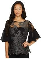 Karen Kane Flare Sleeve Lace Top Women's Clothing
