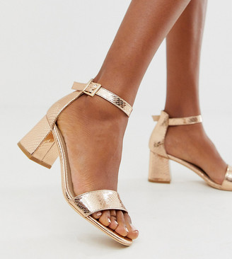 Glamorous Wide Fit rose gold snake embossed heeled sandals