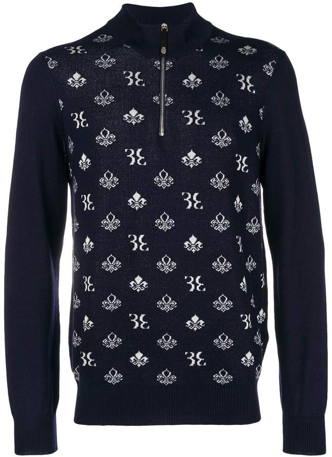 Billionaire logo crest intarsia half zip sweater