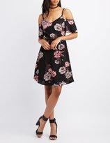 Charlotte Russe Floral Cold Shoulder Skater Dress