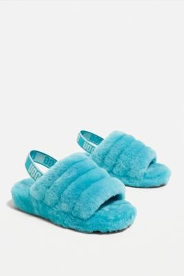 UGG Fluff Yeah Clear Water Slide Slippers - Blue UK 7 at Urban Outfitters