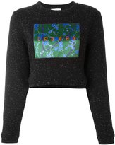 Carven patch flocked cropped pullover - women - Cotton/Polyester - S