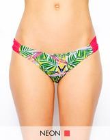South Beach Super Nature Flick Bird Of Paradise Ruched Side Bikini Bottom