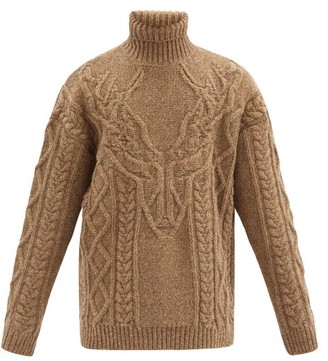 DSQUARED2 Cable-knitted Roll-neck Wool Sweater - Brown