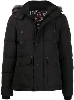 Moose Knuckles fox fur hooded puffer jacket