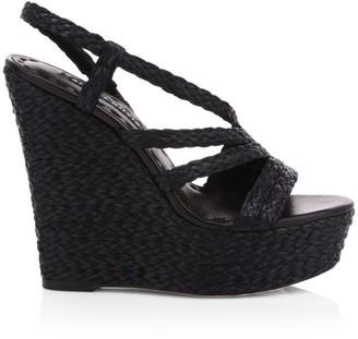 Alice + Olivia Tenley Raffia & Leather Slingback Platform Wedge Sandals