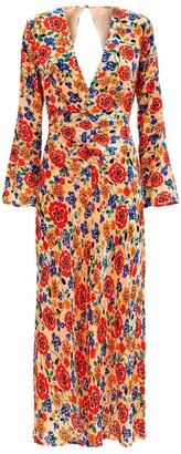 Rixo Floral Print Front Slit Dress