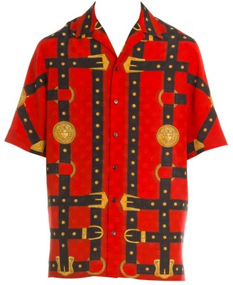 Versace Print Short-Sleeve Silk Shirt