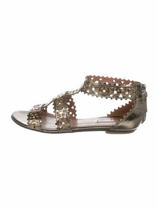 Alaia Leather Cutout Accent Sandals Grey