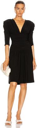 Norma Kamali Shirred Sleeve V Neck Shirred Waist Dress in Black | FWRD