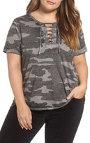 Lucky Brand Plus Size Women's Lace-Up Camo Tee