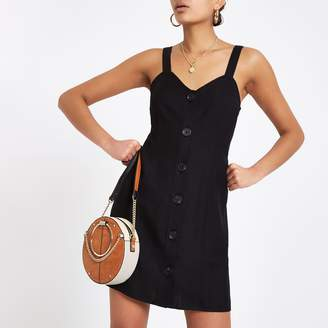 River Island Womens Black tie back slip dress