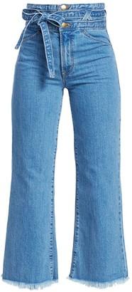 J Brand Sukey Tie Waist Frayed Hem Crop Flare Jeans