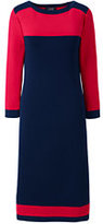 Lands' End Women's Petite 3/4 Sleeve Supima Boat Neck Dress-Deep Sea Colorblock
