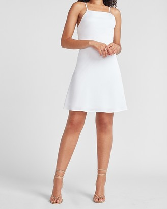 Express Satin Tie Back Fit And Flare Dress