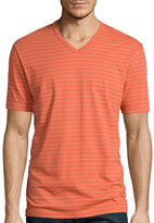 Claiborne Short-Sleeve Pinstriped V-Neck Tee