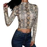 SUPEYA Women Off Shoulder Leopard Print Shirts Puff Sleeve Loose Casual Tops Blouse Activewear