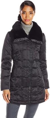 Trina Turk Women's Adriana Mid Length Down Coat with Fur Trim