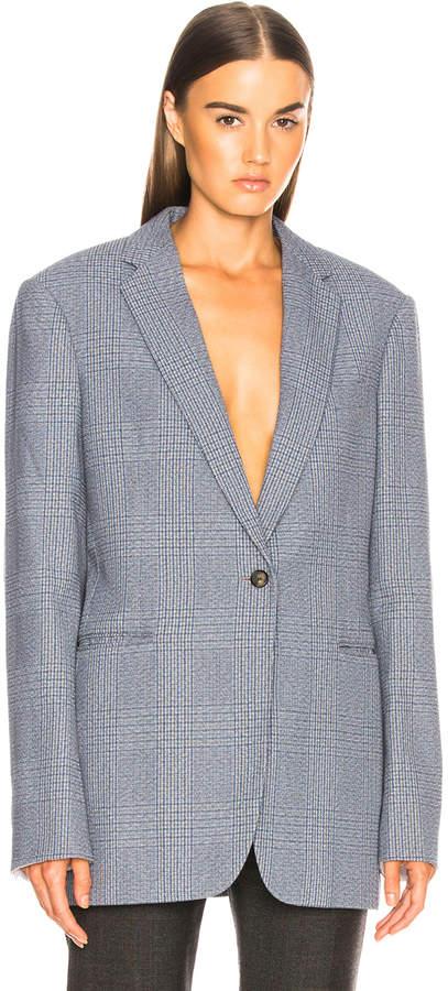 Calvin Klein Plaid Single Button Blazer in Azure Grey   FWRD