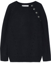 Pierre Balmain Button-detailed Ribbed Wool-blend Sweater - Midnight blue