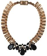 Mawi Rose Gold Tone Hardware with Black Crystals Necklace