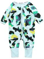 Kids Tales Baby Boys Footed Handed Camo Print Sleeper Pajama Zip Sleeper