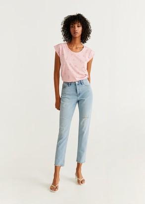 MANGO Printed cotton-blend T-shirt pastel pink - XXS - Women