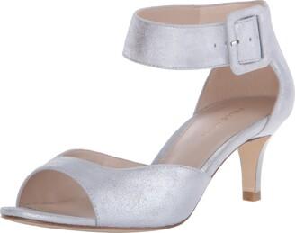 Moda Spana Pelle Moda Women's Berlin Silver Metallic Kid Suede Sandal 8 M