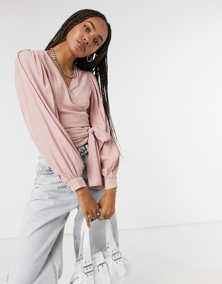 Signature 8 balloon sleeve top in pink