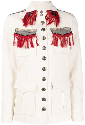 Etro Embroidered Fringe Military Jacket