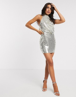 ASOS DESIGN embellished high neck mini dress in silver