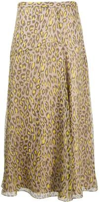 Theory Leopard-Print Silk Skirt