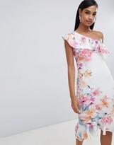 Lipsy floral one shoulder pephem dress
