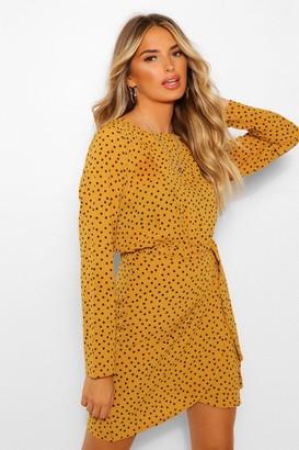 boohoo Long Sleeve Micro Polka Dot Wrap Dress