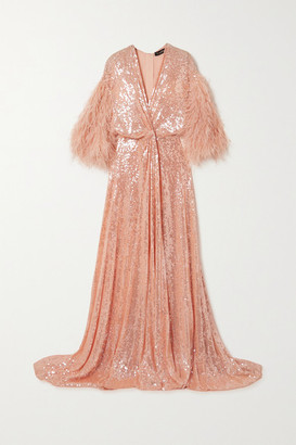 Jenny Packham Paradise Feather-trimmed Sequined Georgette Gown - Peach