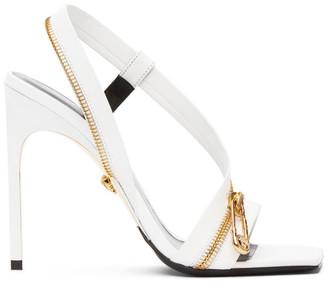 Versace White Zip Strap Medusa Brooch Sandals