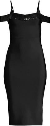 BCBGMAXAZRIA Sequin-Trim Cold-Shoulder Cocktail Dress