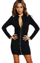 Queen Trends Black Zip Cut Out Cold Shoulder Fitted Clubbing Mini Dress