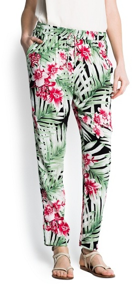 MANGO Print leafs baggy trousers